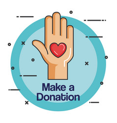 charity emblem hands holding heart icon vector image