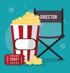 Cinema director chair pop corn and ticket vector