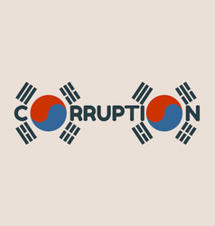 Corruption word and korean flag elements vector