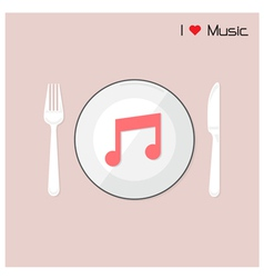Creative music note sign on disk vector image