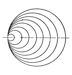Curved line with circle mechanical drawing vector