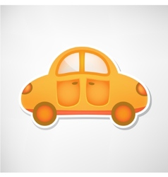 Cute orange toy car icon isolated vector