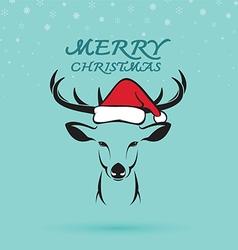 Deer and santa hats vector image