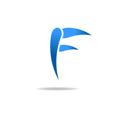 F letter blue logo web icon vector image vector image