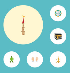 Flat icons decorative malay mecca and other vector