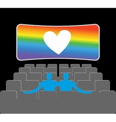 Gays in theater two blue men in cinema hall places vector