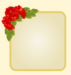 Golden frame with red hibiscus greeting card vector