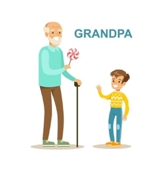 Grandpa giving candy to grandson happy family vector