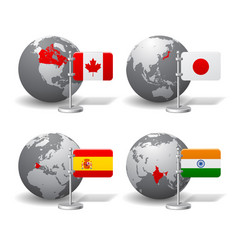 gray earth globes with designation of canada vector image vector image