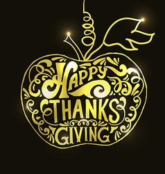 Happy thanksgiving day gold logotype badge and vector