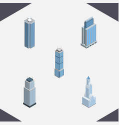 Isometric building set of tower apartment vector