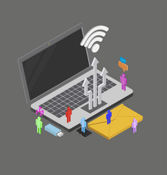 Isometric people using internet around vector