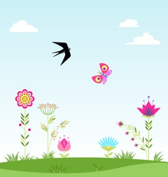 Landscape clouds flower swallow butterfly i vector