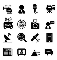 news reporter icons vector image
