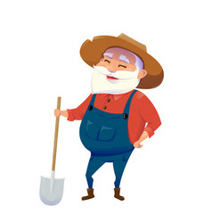 old hipster smile farmer vector image
