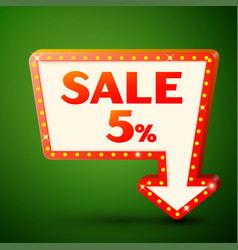 Retro billboard with sale 5 percent discounts vector