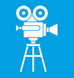 Retro film projector icon white vector