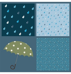Seamless patterns with raindrops vector image