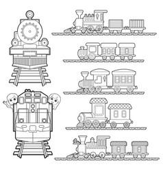 set of train cartoon train travel with kids vector image vector image
