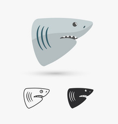 Simple shark icon vector