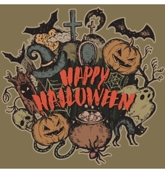 Sketch halloween characters vector
