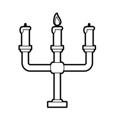 Sketch silhouette image candlestick with base and vector
