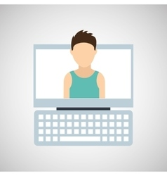 Smartphone blue screen unlock woman avatar vector