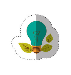 sticker of light bulb color turquoise and leaves vector image