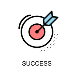 success icon and arrow with dart board on white vector image