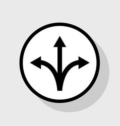 Three-way direction arrow sign flat black vector
