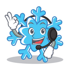 With headphone snowflake character cartoon style vector