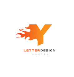 y letter flame logo design fire logo lettering vector image