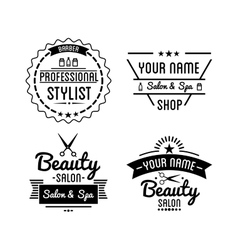 Set of vintage barber shop logo and beauty spa vector