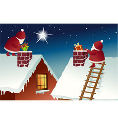 Santa Claus on roof vector image