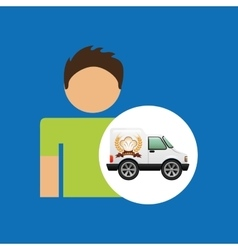 Bakery van and character man icon vector