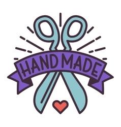 Handmade needlework badge logo vector