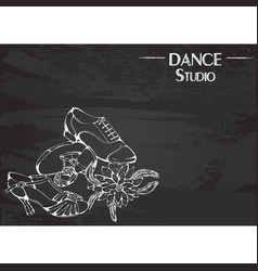 Dance line chalk ballroom latina shoes vector
