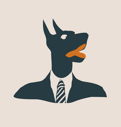 Doberman dog dressed up in black suit vector