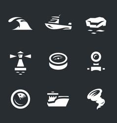 Set of sea navigation icons vector