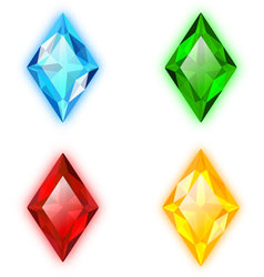 Set of four gems rhomb shaped vector