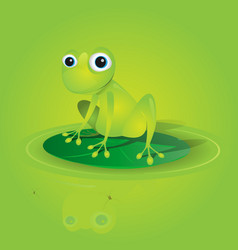 Lovely green frog on a waterlily vector