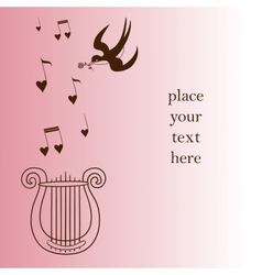 Romantic card concept lire with tunes and swallow vector