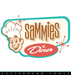 Retro diner logo with chef vector