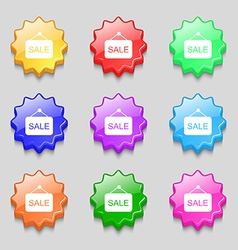Sale icon sign symbol on nine wavy colourful vector