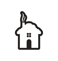 Flat icon in black and white house vector