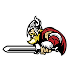 Angry viking mascot with big sword vector