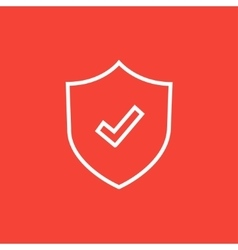 Shield with check mark line icon vector