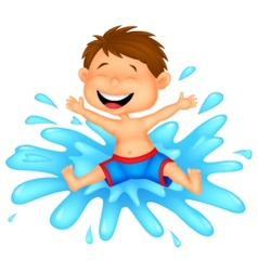 Boy cartoon jumping into the water vector image vector image