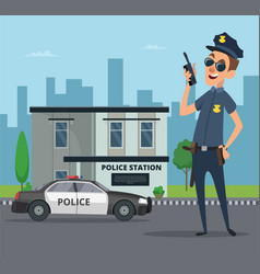 building of police station and cartoon character vector image