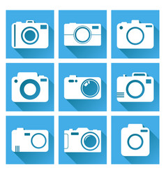 Camera icon set on blue background with long vector